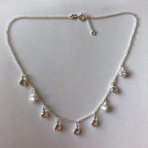 colar choker pontos de luz estilo tiffany em prata legítima