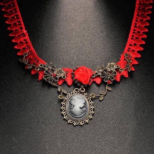 colar choker renda vintage vitoriano chic camafeu gótico