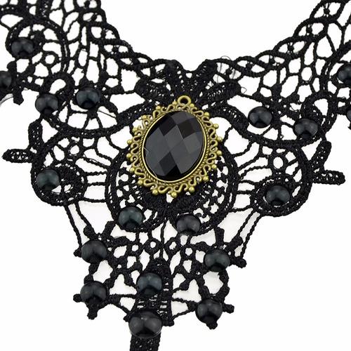 colar choker renda vitoriano chic pedra preto gótico chic