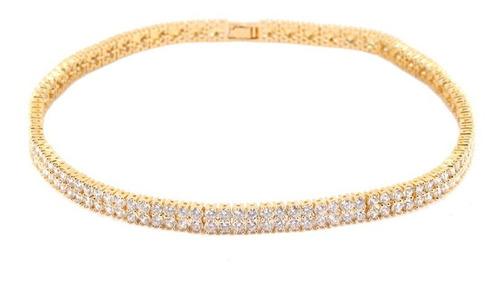 colar choker transparente zircônia dourado pedras