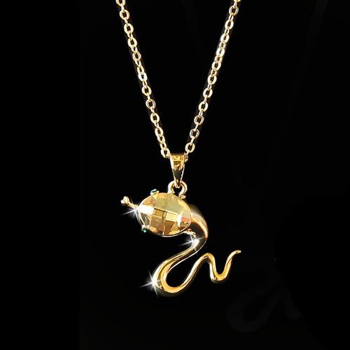 colar cobra feminino folheado ouro 18k + cristal austríaco