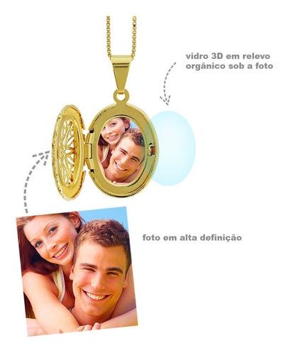 colar com foto relicário oval personalizado