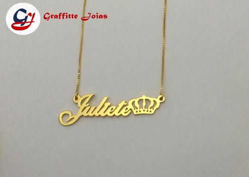 colar com nome infantil personalizado folheado a ouro 18k
