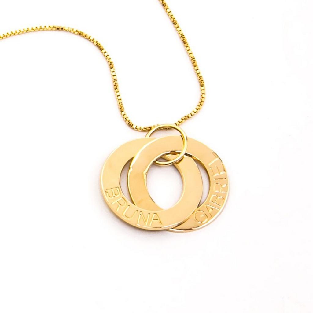 99eecf131d3f3 Colar Com Nome No Círculo Banhado A Ouro 18k - R  139,99 em Mercado ...