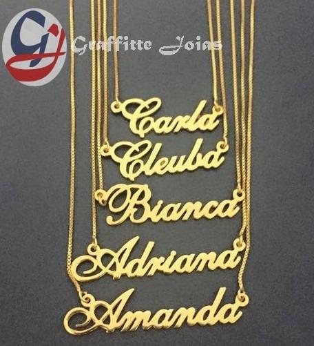 7413e91e866b1 Colar Com Nome Personalizado Folheado A Ouro 18k Promoção - R  69,89 ...