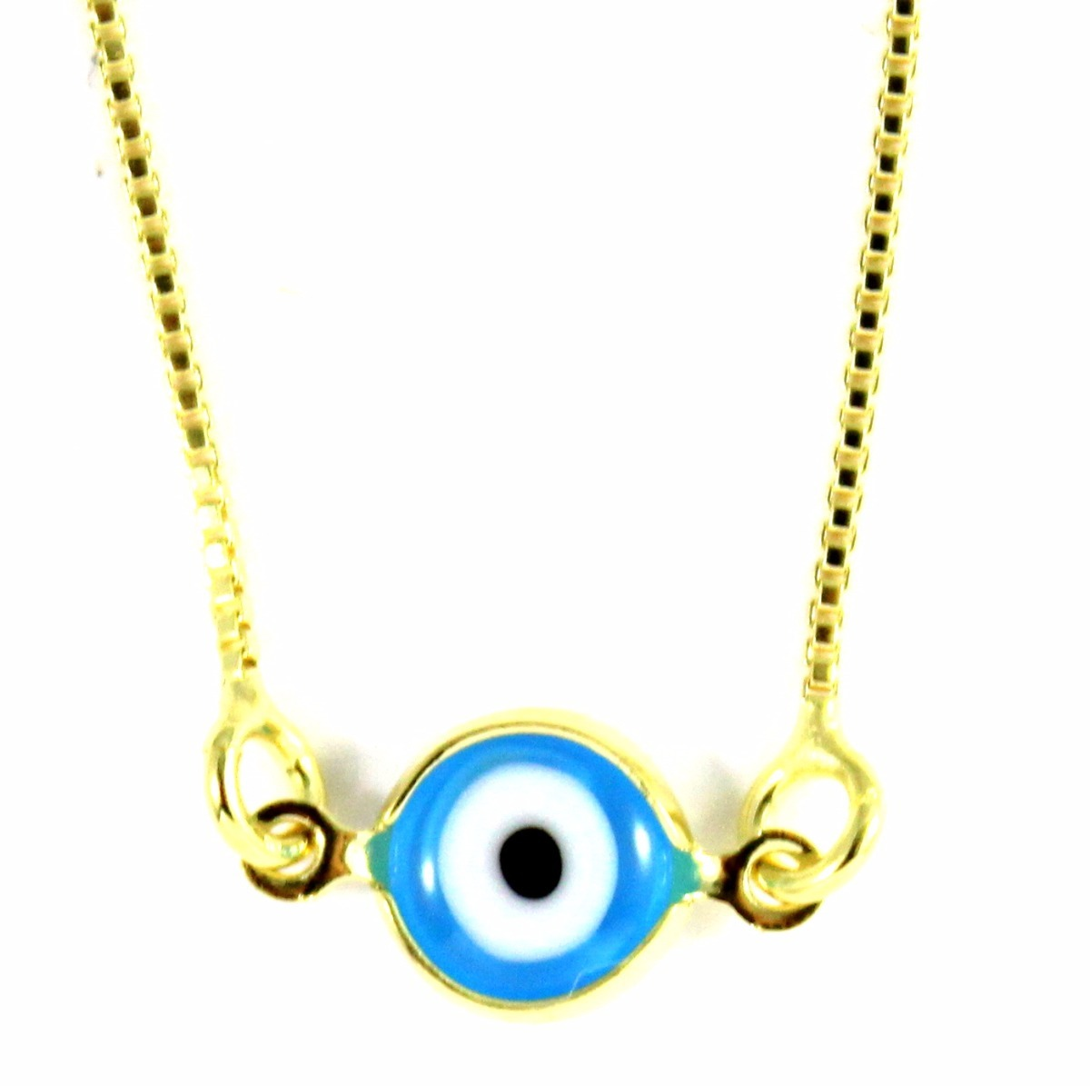 d18d367d368e0 colar com olho grego azul claro banhado em ouro 18k+proteção. Carregando  zoom.