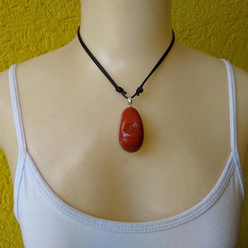 colar com pedra natural jaspe ref: 7921