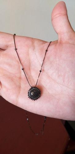 colar com pedras turmalina negra (preta) e pingente em ródio