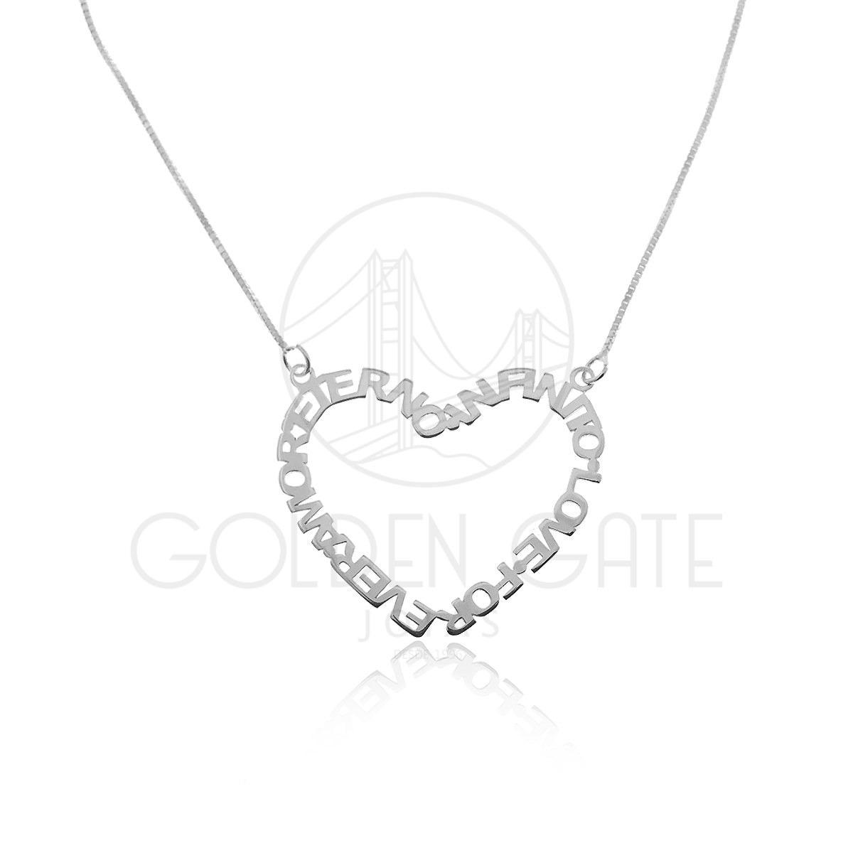 a6898f84af2 Colar Com Pingente Coração Escrito Infinito Em Prata 925 - R  51