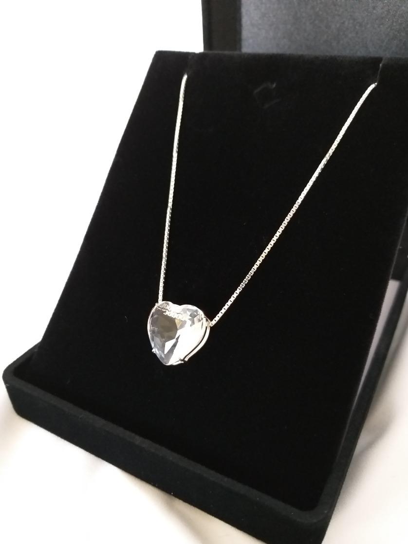 db38b518e8b colar com pingente de coração com pedra branca em prata 925. Carregando  zoom.