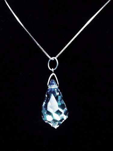 colar com pingente de pedra cristal para noivas prata 925