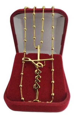 colar com pingente jesus crucifixo folheado a ouro 18k