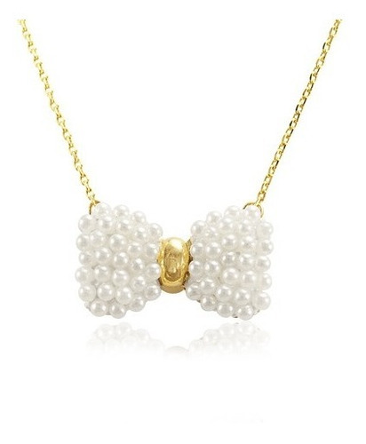 colar com pingente lacinho de pérola, folheado a ouro-12628