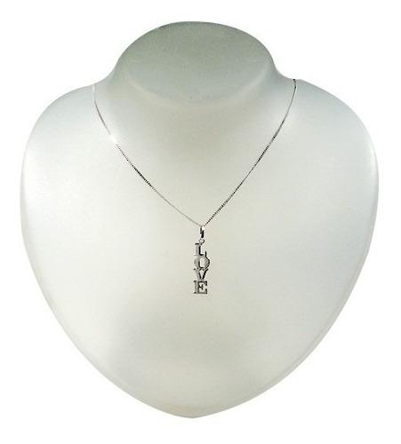 colar com pingente love em prata 925 - presente p namorada