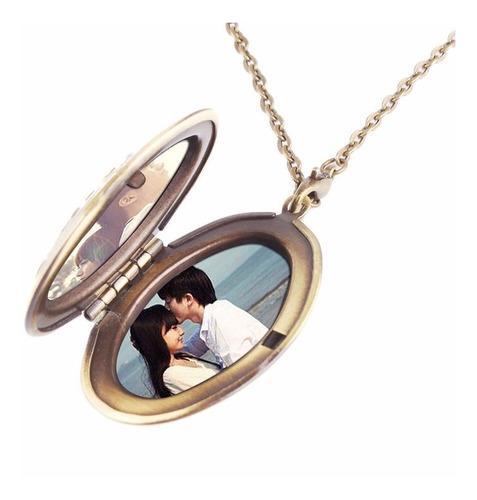 colar com pingente medalhão  2 fotos oval bronze