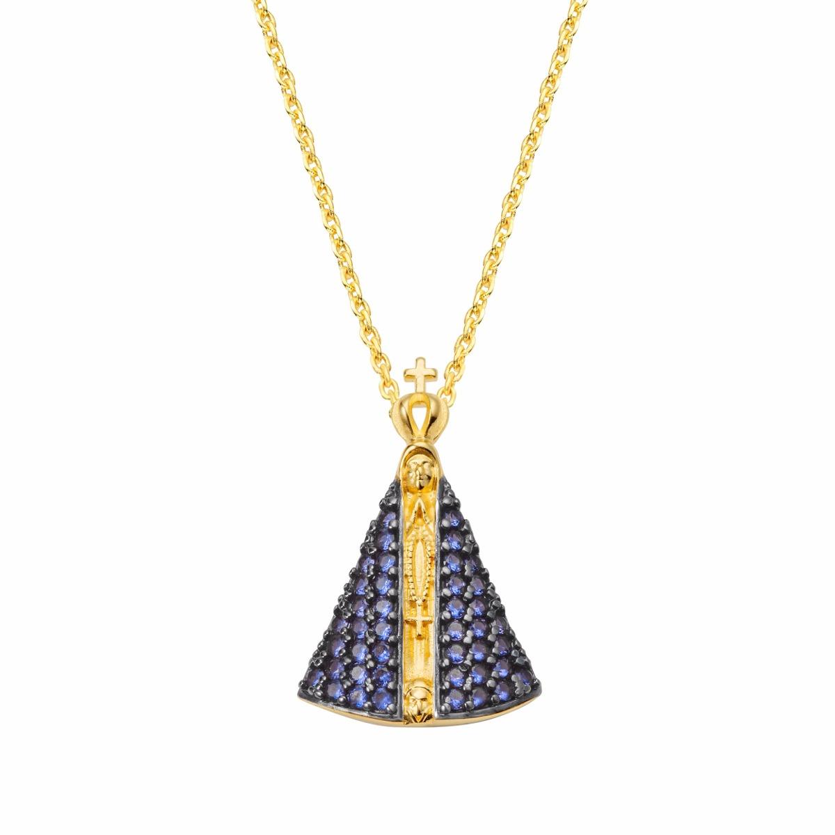 9abb23d004a6d colar com pingente nossa senhora aparecida em zircônia azul. Carregando  zoom.