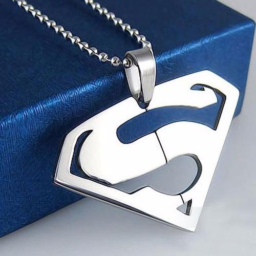 colar com pingente superman homem dc pronta entrega - prata