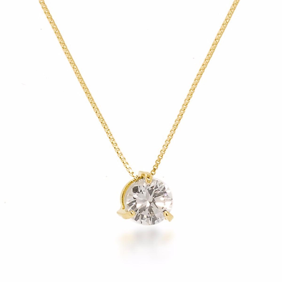 8bc9174eb4ba9 colar com ponto de luz brilhante feminino banhado ouro 18k. Carregando zoom.