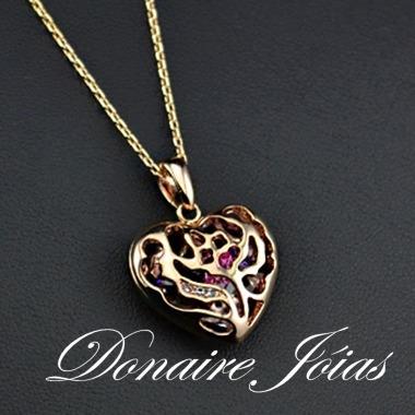 colar coração com cristais -  folheado a ouro rosê 18k