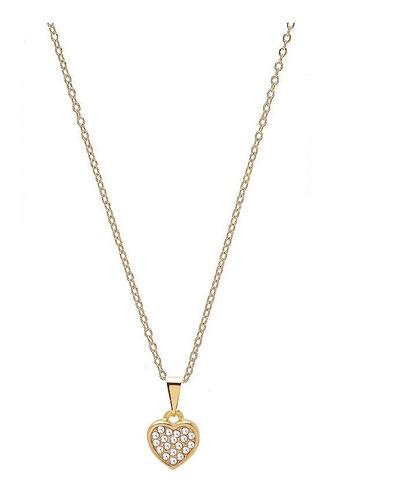 colar coração com strass folheado a ouro 18k