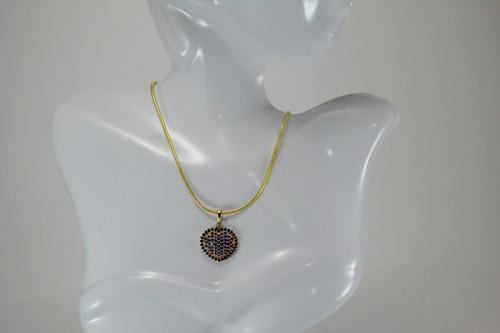 colar coração cravejado zirconia banhado ouro 18k