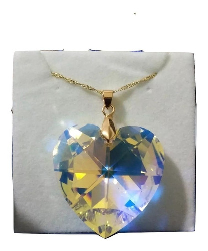colar coração cristal swarovski aurora boreal folh.ouro 4 cm