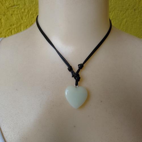 colar coração de pedra fluorescente ref: 8072 - dúzia