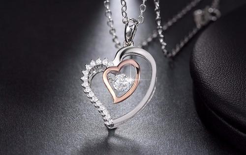 colar coração duplo prata 925 feminino zirconia e ouro rose