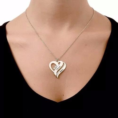 colar coração em prata com nomes personalizados