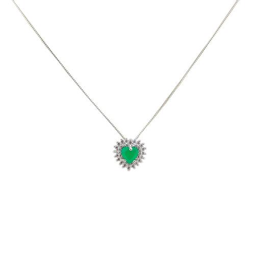 colar coração esmeralda cravejado e zircônia branca cl020011