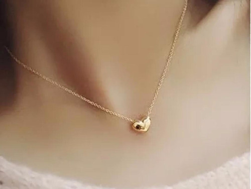 colar coração folheado a ouro 18k