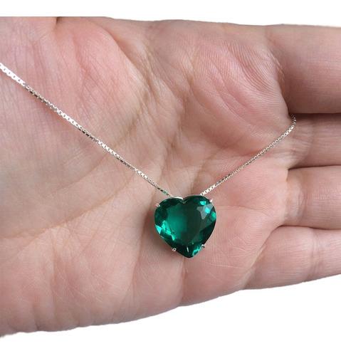 colar coração verde turmalina grande prata legítima 925