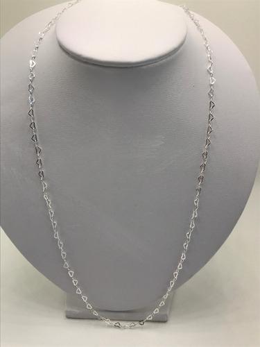 colar corações 60 cm prata 925 maciça c/ caixa veludo