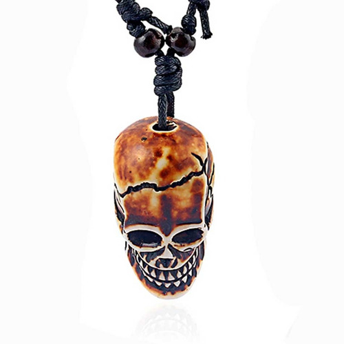 colar cordao caveira pingente resina cranio tribal punk rock