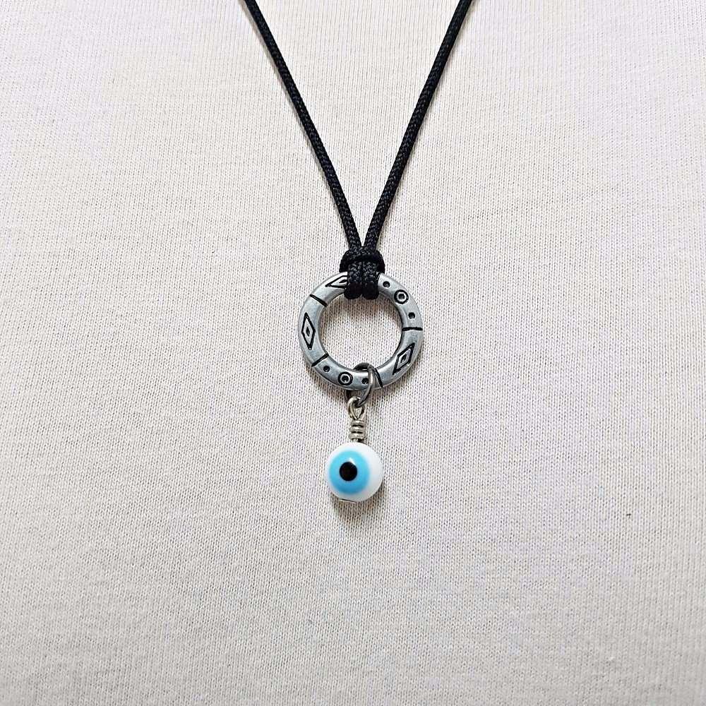 d5d2dde39ba8e colar cordao masculino pingente argola tribal olho grego. Carregando zoom.