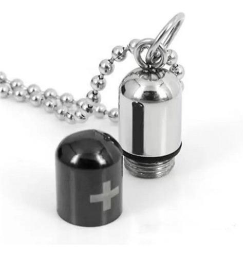colar cordão comprimido capsula remédio aço 316l prova água