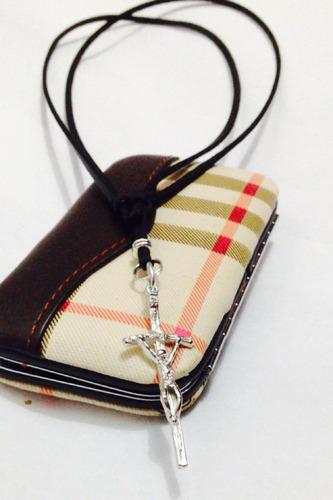 colar cordão corrente couro cruz masculino feminino