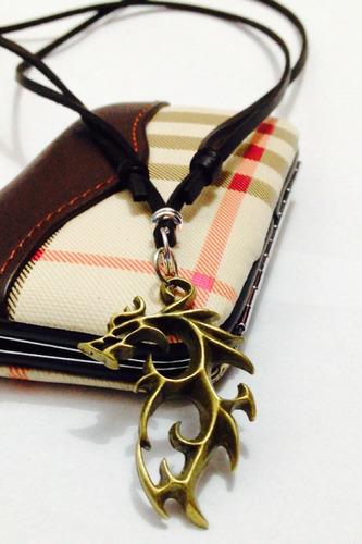 colar cordão corrente couro dragão masculino feminino