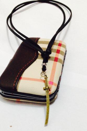 colar cordão corrente couro espada samurai masculino feminin