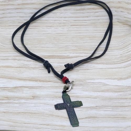 colar cordão corrente  couro masculino  feminino cruz inox