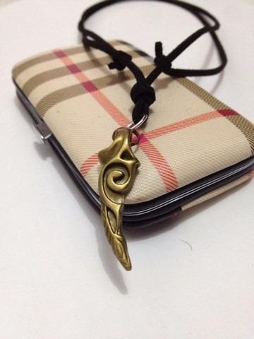 colar cordão corrente  couro masculino  feminino horn