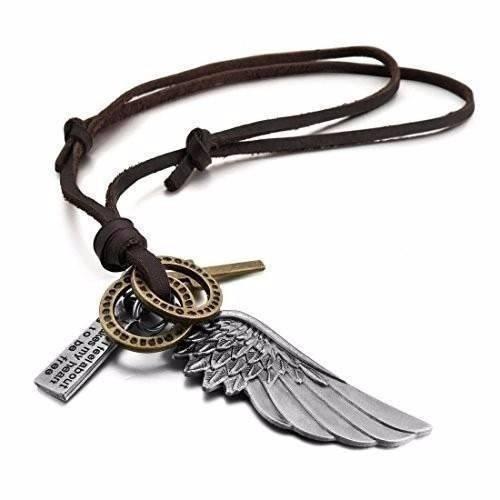colar cordão couro legitimo asa de anjo ref:345