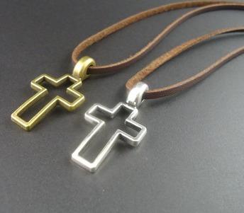 colar cordão crucifixo couro masculino feminino unissex