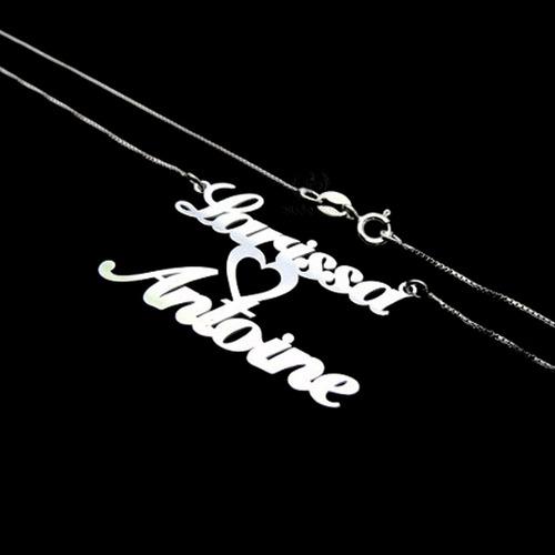 colar cordão de prata 925 personalizado com 2 nomes