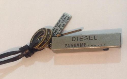 colar cordão diesel masculino couro legítimo original