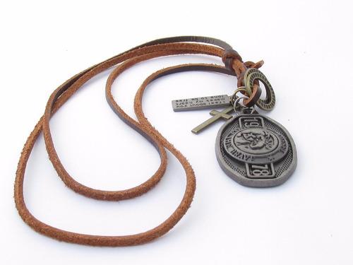 colar cordão diesel original couro legítimo style importado