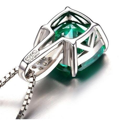 colar cordão feminino prata 925  pedra esmeralda natural
