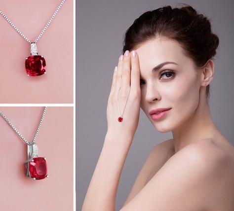 colar cordão feminino prata 925  pedra rubi natural