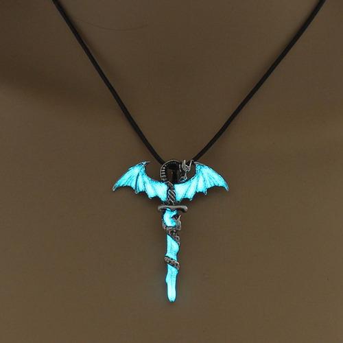 colar cordão masculino brilha no escuro dragão lindo present