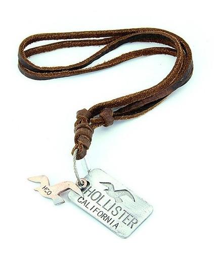 colar cordão masculino couro legítimo hollister - frete gr
